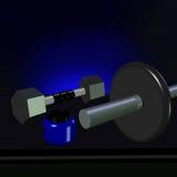 3D van een Dumbell, een Barbell en een suplementkruik Royalty-vrije Stock Foto's