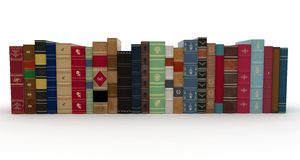 3d various books pile Stock Photo