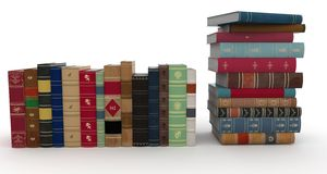 3d various books pile. Isolated on white Stock Photo