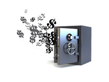 3D vault flying dollars Royalty Free Stock Images