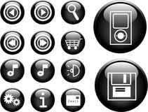3D Vector Buttons. 3D buttons with an internet theme. Vector version in my portfolio Royalty Free Stock Photo