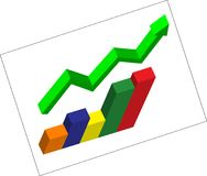 3d vector Graph. 3d vector Business Graph and arrow vector illustration