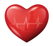 3d vector heart with cardiogram reflection icon Royalty Free Stock Photos
