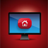 3d vector home icon design on pc screen Royalty Free Stock Photos