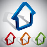3d vector home icons. 3d vector home icons design, color set. Contain transparent shadows, ready to put on any background Stock Photography