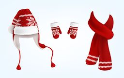 3D vector knitted santa hat, mittens and scarf Stock Photos