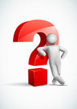 3d vector man leaning question mark symbol. Royalty Free Stock Photo