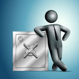 3d vector man leaning on a safe. Royalty Free Stock Images