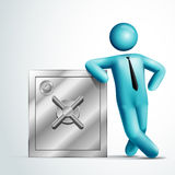 3d vector man leaning on a safe. Stock Photos