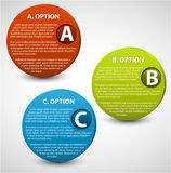 3D vector progress buttons. 3D vector progress icons for three steps and their description Royalty Free Stock Photos