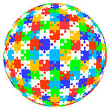3d vector puzzle jigsaw ball in color Stock Photo