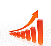 3d vector of rising red bar chart with arrow. 3d vector animation of  rising red bar chart with arrow above Stock Photo