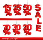 3d vector sale signs. Sale signs for you e-shop or shop flyers Royalty Free Stock Photos