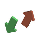 3d vector up down arrows. Vector illustration of 3D arrows, one green one red Royalty Free Stock Images