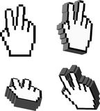 3D Vector Victory Hand Cursors Stock Photo