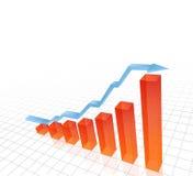 3D vectorillustratie van het toenemen grafiek Stock Fotografie