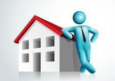 3d vectormensen leunend huis Royalty-vrije Stock Afbeelding