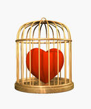 3d velvet heart, closed in a gold cage Stock Image