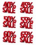 3d venda 40 45 50 55 60 65 por cento Fotografia de Stock Royalty Free