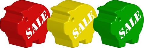 3d verkoop nr 3 van het spaarvarken Royalty-vrije Stock Foto