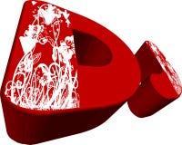 3D vermelho DJ e folha branca ilustração do vetor
