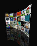 3d video display wall. 3d render of collection of pictures, forming video display wall stock illustration