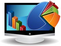 3D Video Graphics Flat Screen. 3D business charts coming out of a flat screen television royalty free illustration