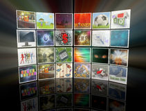 3d video wall. 3d render of collection of images, forming video wall display Stock Image