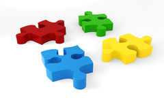 3d - vier Puzzlespielstücke Lizenzfreies Stockbild