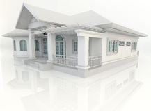 3D vintage house exterior design with refelction in white backgr Royalty Free Stock Photography