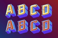 3D Vintage Letters With Neon Lights Stock Image