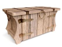 3D Vintage Wooden Chest Stock Photography