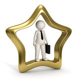 3d VIP business man - Icon. 3d business man standing in a gold VIP icon - Isolated Royalty Free Stock Image