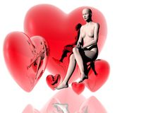 3d virtual girl with red hearts Royalty Free Stock Photography