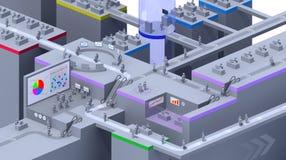 3D virtueel bureau Stock Foto's