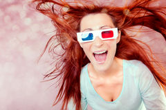 3d vision. Crazy 3d vision girl using new technology Royalty Free Stock Images