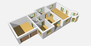 3D visualisation of house 1 Royalty Free Stock Photo