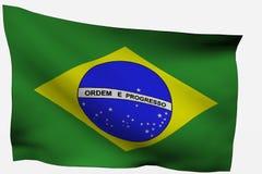 3D Vlag van Brazilië Stock Foto