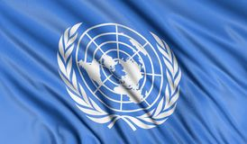 3D vlag van de Verenigde Naties Stock Foto