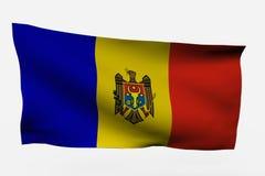 3d vlag van Moldavië stock illustratie