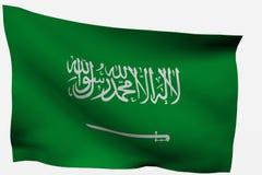 3D vlag van Saudi-Arabië Stock Foto