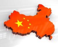 3d vlagkaart van China Royalty-vrije Stock Fotografie