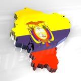 3d vlagkaart van Ecuador Royalty-vrije Stock Afbeelding
