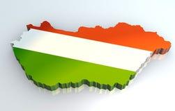 3d vlagkaart van Hongarije Stock Afbeeldingen