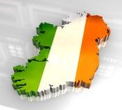 3d vlagkaart van Ierland Stock Afbeeldingen
