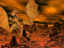 3D vlucht van de draak - geef terug Stock Afbeelding