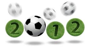 3D voetbal en voetbal 2012 Stock Foto
