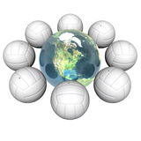3d volley balls with earth. Isolated on a white background Royalty Free Stock Image