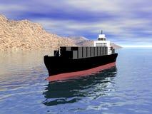 3D Vrachtschip met Land Stock Afbeeldingen