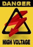 3d władzy znaka wysoki woltaż Zdjęcie Royalty Free